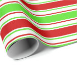 [ Thumbnail: Fun Green, White, Red Christmas Style Pattern Wrapping Paper ]