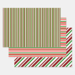 [ Thumbnail: Fun Green, White, Red Christmas Style Patterns Wrapping Paper Sheets ]
