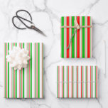 [ Thumbnail: Fun Green, White, Red Christmas Themed Patterns Wrapping Paper Sheets ]