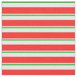 [ Thumbnail: Fun Green, White, Red Christmas Themed Stripes Fabric ]