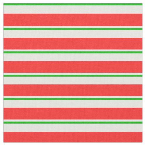 Fun Green White Red Christmas Themed Stripes Fabric