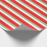 [ Thumbnail: Fun Green, White, Red Christmas Themed Stripes Wrapping Paper ]