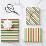 [ Thumbnail: Fun Green, White, Red Christmas Themed Stripes Wrapping Paper Sheets ]