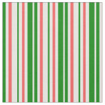 [ Thumbnail: Fun Green, White, Red Colored Christmas Inspired Fabric ]
