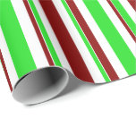[ Thumbnail: Fun Green, White, Red Colored Christmas-Inspired Wrapping Paper ]
