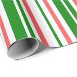 [ Thumbnail: Fun Green, White, Red Colored Christmas Inspired Wrapping Paper ]