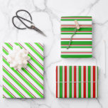 [ Thumbnail: Fun Green, White, Red Colored Christmas Inspired Wrapping Paper Sheets ]