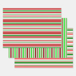 [ Thumbnail: Fun Green, White, Red Colored Christmas-Inspired Wrapping Paper Sheets ]