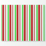 [ Thumbnail: Fun Green, White, Red Colored Lines Wrapping Paper ]