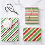 [ Thumbnail: Fun Green, White, Red Colored Stripes Patterns Wrapping Paper Sheets ]