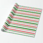 [ Thumbnail: Fun Green, White, Red Striped/Lined Pattern Wrapping Paper ]