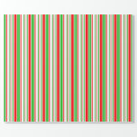 [ Thumbnail: Fun Green, White, Red Stripes/Lines Pattern Wrapping Paper ]