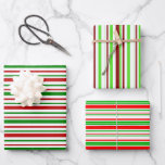 [ Thumbnail: Fun Green, White, Red Stripes/Lines Pattern Wrapping Paper Sheets ]