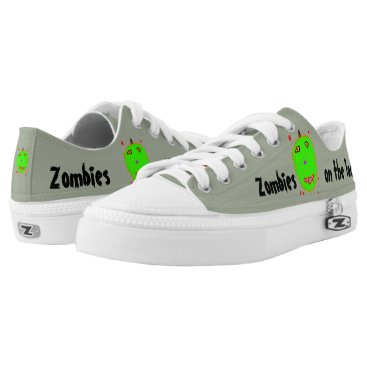 Halloween Themed Fun Green Zombies Red Blood Low-Top Sneakers