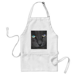 Fun Grey Kitty Cat w/ Colored Eyes Adult Apron