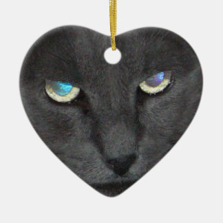 Fun Grey Kitty Cat w/ Colored Eyes Ceramic Ornament
