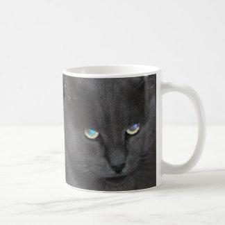 Fun Grey Kitty Cat w/ Colored Eyes Classic White Coffee Mug