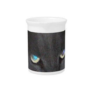 Fun Grey Kitty Cat w/ Colored Eyes Beverage Pitchers