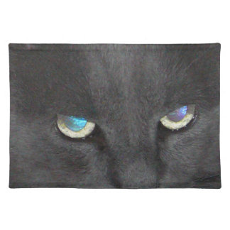 Fun Grey Kitty Cat w/ Colored Eyes Place Mat