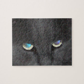 Fun Grey Kitty Cat w/ Colored Eyes Puzzles