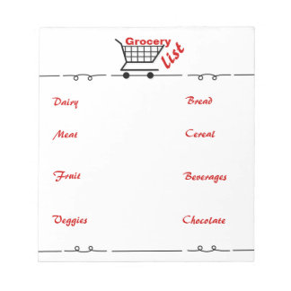 Fun Grocery List Notepad for Chocolate Lover