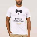 "Fun Groomsman Black Tie Wedding T-shirt<br><div class=""desc"">These fun t-shirts are designed as favors or gifts for wedding groomsmen. The t-shirt is white and features an image of a black bow tie and three buttons. The text reads Groomsman, and has a place to enter the groomsman's name as well as the wedding couple's name and wedding date....</div>"