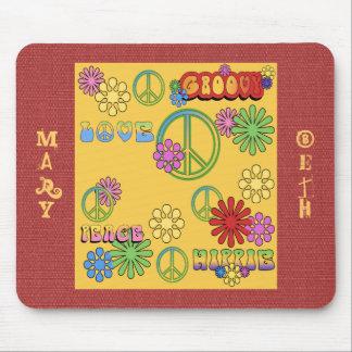 Fun! Groovy 60's Peace Love Hippie Custom Mousepad