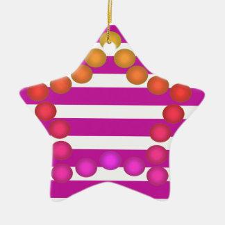 Fun Gumdrop Ornament Pink White Stripe Star