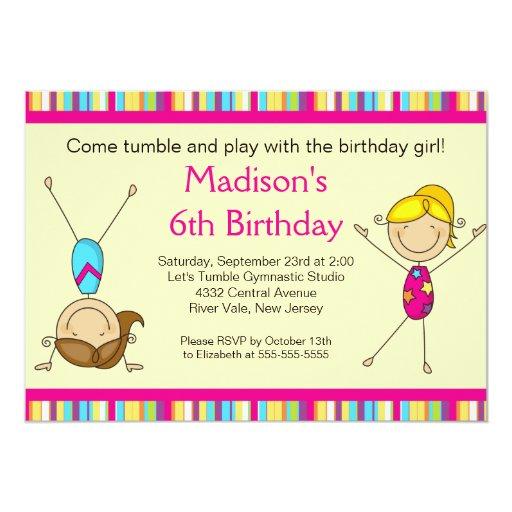 Fun Gymnastics Kids Birthday Party Invitation Zazzle