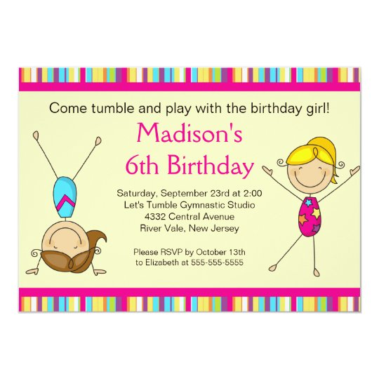 fun gymnastics kids birthday party invitation | zazzle, Party invitations