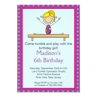 "Fun Gymnastics Kids Birthday Party Invitation 5"" X 7"" Invitation Card"