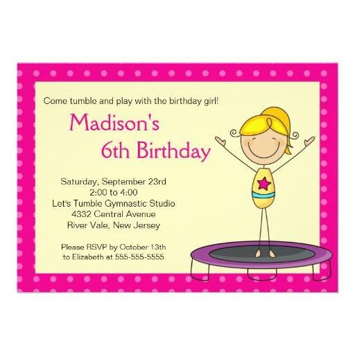 Deals Fun Gymnastics Kids Birthday Party Invitation