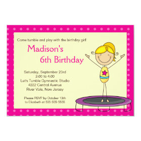 Fun Gymnastics Kids Birthday Party Invitation 5