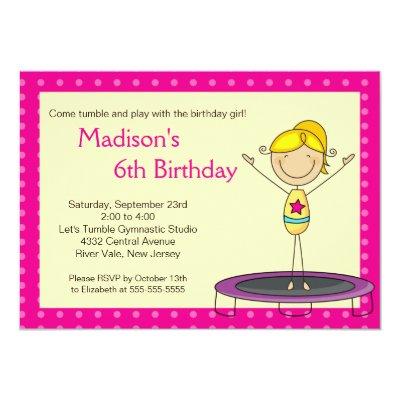 Fun Gymnastics Kids Birthday Party Invitation – Gymnastics Party Invitation