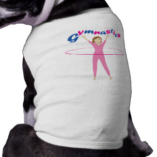 Fun Gymnastics text Pink hula hooping girl dog Shirt
