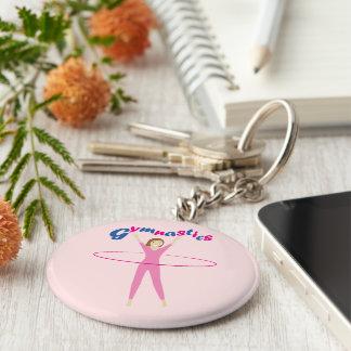Fun Gymnastics text with Pink hula hooping girl Keychain