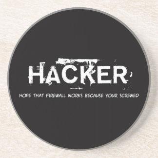 Fun hackers sandstone coaster