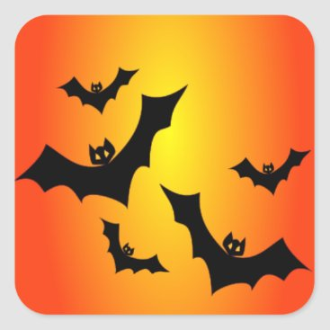 Halloween Themed Fun Halloween Bats on Yellow & Orange Square Sticker