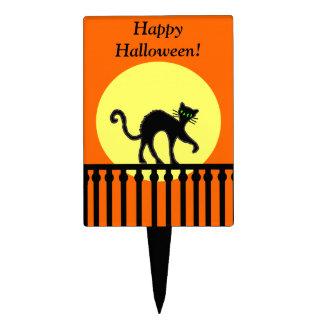 Fun Halloween Black Cat on Fence Yellow Moon Cake Topper