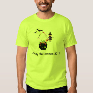 Fun Halloween Caldron Witch and Bats T Shirt