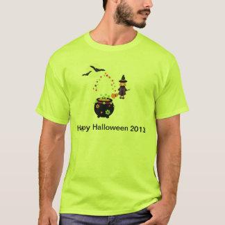 Fun Halloween Caldron Witch and Bats T-Shirt