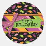 Fun Halloween Candy Print Classic Round Sticker