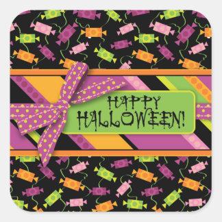 Fun Halloween Candy Print Square Sticker