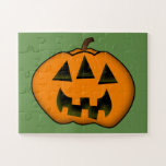 [ Thumbnail: Fun Halloween Jack-O'-Lantern Pumpkin With 3 Eyes Jigsaw Puzzle ]