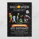 """Fun Halloween Kids Costume Birthday Party Invitation<br><div class=""""desc"""">A birthday invitation for those born in October - a Halloween Costume Party! Featuring a rustic chalkboard background, colorful star confetti, cartoon fancy dress costume characters, pumpkins ghosts, monsters etc and a fun modern birthday party template that is easy to customize. If you want to change text font or color...</div>"""