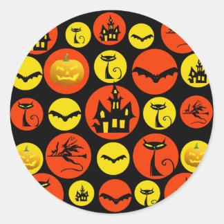 Fun Halloween Polka Dot Pattern Haunted House Classic Round Sticker
