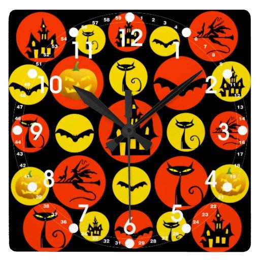 Fun Halloween Polka Dot Pattern Haunted House Wallclock