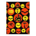 Fun Halloween Polka Dot Pattern Haunted House Custom Invitations