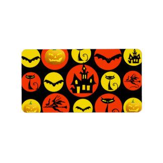 Fun Halloween Polka Dot Pattern Haunted House Label