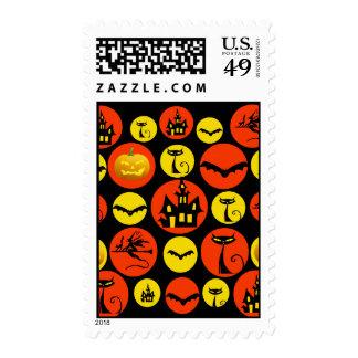 Fun Halloween Polka Dot Pattern Haunted House Stamps